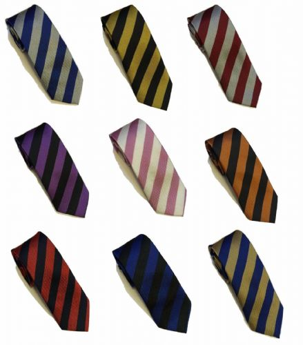 Striped School Mens Boys wedding event prom party plain necktie tie UK